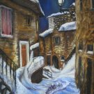 Original pastel painting, winter cityscape, night city, moon, wall art, wall decor,