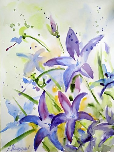 Original watercolor painting, flowers, floral wall art , botanical art, nature art, wild flowers