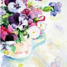 Original watercolor painting, flowers, floral still life Pansies, blooms, wall art, wall decor,