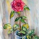 Original watercolour painting, flowers Red rose, artwork, floral still life, wall art, botanical art
