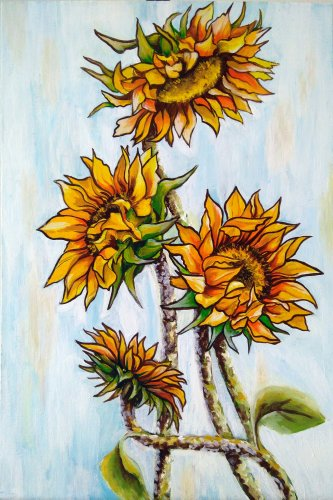Flower painting, original acrylic painting, Sunflowers, large floral wall art, botanical art,