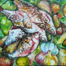 Impressionist still life - Fish. Original oil painting, kitchen artwork, wall decor, wall art