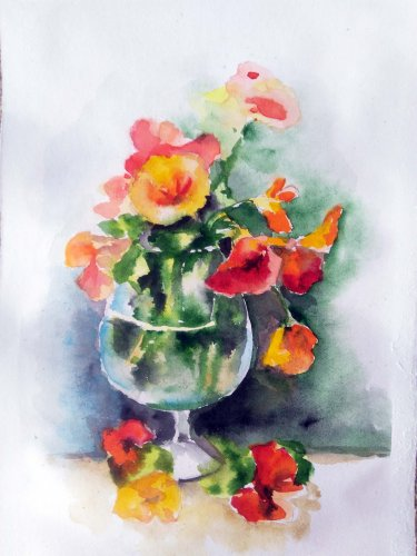 Original watercolor painting Bouquet nasturtium flowers floral still life, botanical art