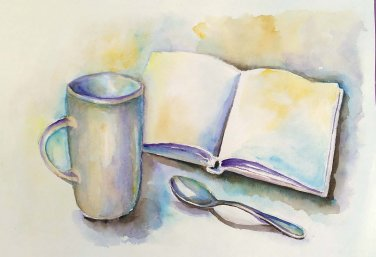Still life, original watercolor painting, kitchen wall decor, bookshelf painting Cup and book