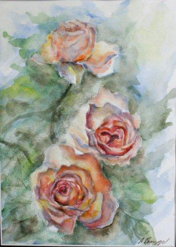 Original watercolour painting, rose gold flowers, original artwork, floral wall art, wall decor