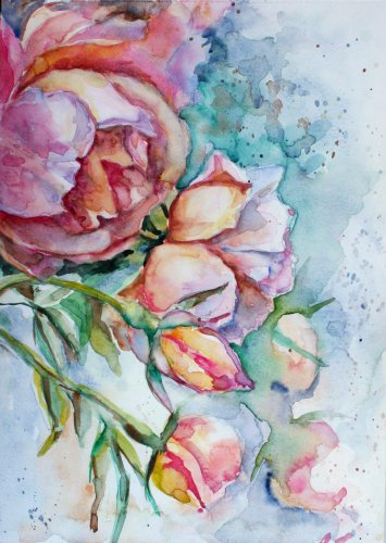 Original watercolour painting, peonies flowers, original artwork, floral wall art