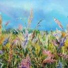 Landscape original oil painting Field, impressionist artwork, large wall art