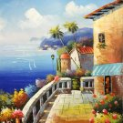 "Mediterranean style Hand painted oil painting on canvas""Sea view Villa""20x24CM(7.9""x9.4"")Unframed-17"