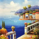 """Mediterranean style Hand painted oil painting on canvas""""Sea view Villa""""20x24CM(7.9""""x9.4"""")Unframed-19"""