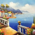 """Mediterranean style Hand painted oil painting on canvas""""Sea view Villa""""20x24CM(7.9""""x9.4"""")Unframed-22"""