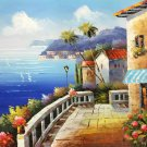 "Mediterranean style Hand painted oil painting on canvas""Sea view Villa""20x24CM(7.9""x9.4"")Unframed-23"