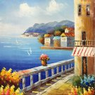 "Mediterranean style Hand painted oil painting on canvas""Sea view Villa""20x24CM(7.9""x9.4"")Unframed-24"