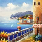 "Mediterranean style Hand painted oil painting on canvas""Sea view Villa""20x24CM(7.9""x9.4"")Unframed-25"