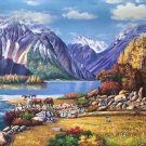"""American style Hand painted oil painting on canvas""""Snow Mountain""""90x220CM(35.4""""x86.6"""")Unframed-22"""