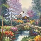 """American style Hand painted oil painting on canvas""""Private garden""""60x90CM(23.6""""x35.4"""")Unframed-04"""
