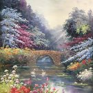 """American style Hand painted oil painting on canvas""""Private garden""""60x90CM(23.6""""x35.4"""")Unframed-05"""