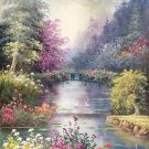 """American style Hand painted oil painting on canvas""""Private garden""""60x90CM(23.6""""x35.4"""")Unframed-06"""
