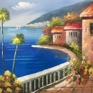 "Hand painted oil painting on canvas""Sea view Villa""50x60CM(19.7""x23.6"")Unframed-26"