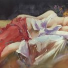 "Body Art Hand painted oil painting on canvas""sleeping Beauty""60x90CM  (23.6""x35.4"")Unframed-01"