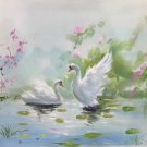 "Chinese style Hand painted oil painting on canvas""swan""50x60CM(19.7""x23.6"")Unframed-05"
