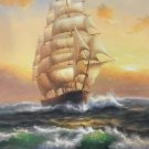 "Simple modern Hand painted oil painting on canvas""Adventure sailboat""60x90CM(23.6""x35.4"")Unframed"