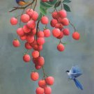 "Simple modern Hand painted oil painting on canvas""Bird and lychee""60x90CM(23.6""x35.4"")Unframed-01"