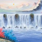 "Hand painted oil painting on canvas""Mountains and rivers unlimited""50x150CM(19.7""x59.1"")Unframed-04"