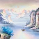 """Hand painted oil painting on canvas""""Mountains and rivers unlimited""""50x150CM(19.7""""x59.1"""")Unframed-05"""