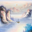 """Hand painted oil painting on canvas""""Mountains and rivers unlimited""""50x150CM(19.7""""x59.1"""")Unframed-06"""