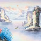 """Hand painted oil painting on canvas""""Mountains and rivers unlimited""""50x150CM(19.7""""x59.1"""")Unframed-07"""