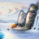 "Hand painted oil painting on canvas""Mountains and rivers unlimited""50x150CM(19.7""x59.1"")Unframed-08"