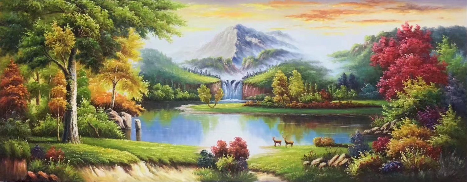 """American style Hand painted oil painting on canvas""""Creek""""70x180CM(27.6""""x70.9"""")Unframed-24"""