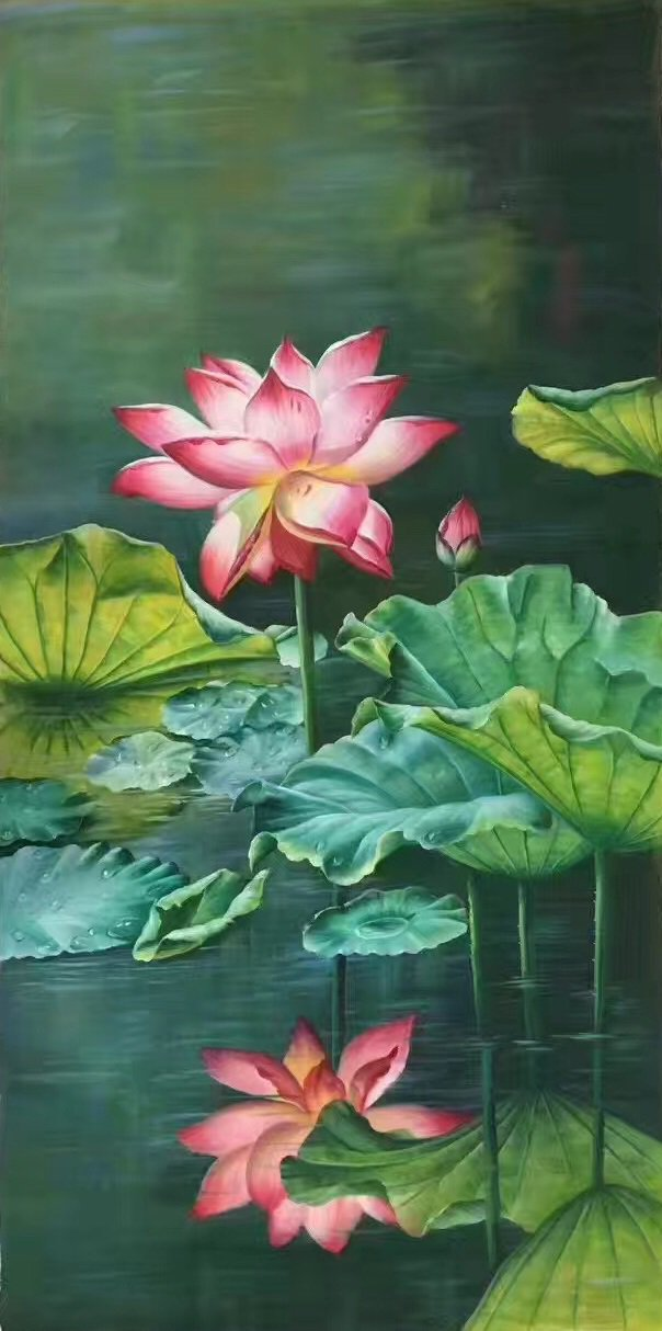 """hinese style Hand painted oil painting on canvas""""lotus""""60x120CM(23.6""""x47.2"""")Unframed-01"""