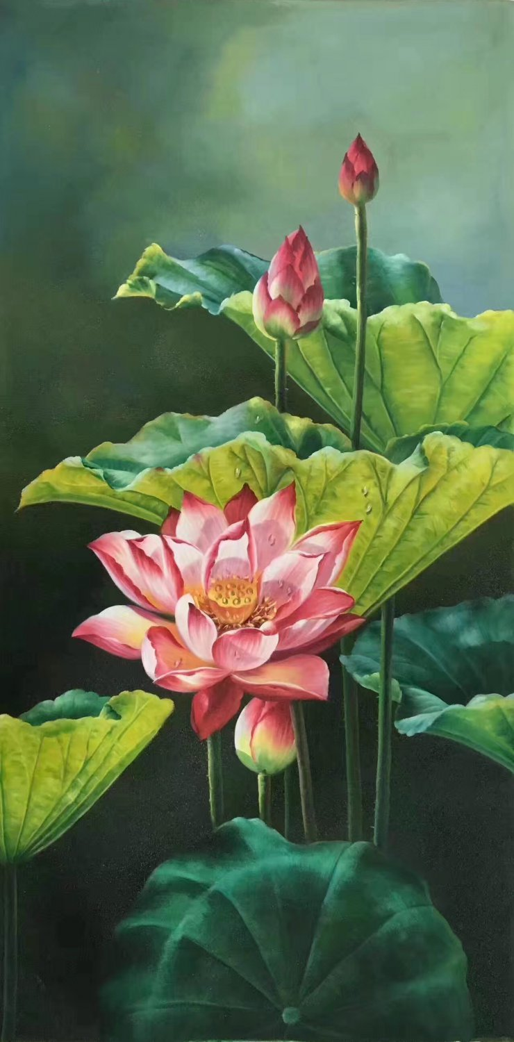 """hinese style Hand painted oil painting on canvas""""lotus""""60x120CM(23.6""""x47.2"""")Unframed-04"""