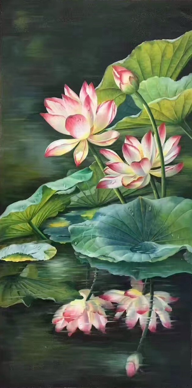 """hinese style Hand painted oil painting on canvas""""lotus""""60x120CM(23.6""""x47.2"""")Unframed-05"""