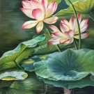 "hinese style Hand painted oil painting on canvas""lotus""60x120CM(23.6""x47.2"")Unframed-05"