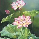 """hinese style Hand painted oil painting on canvas""""lotus""""60x120CM(23.6""""x47.2"""")Unframed-06"""