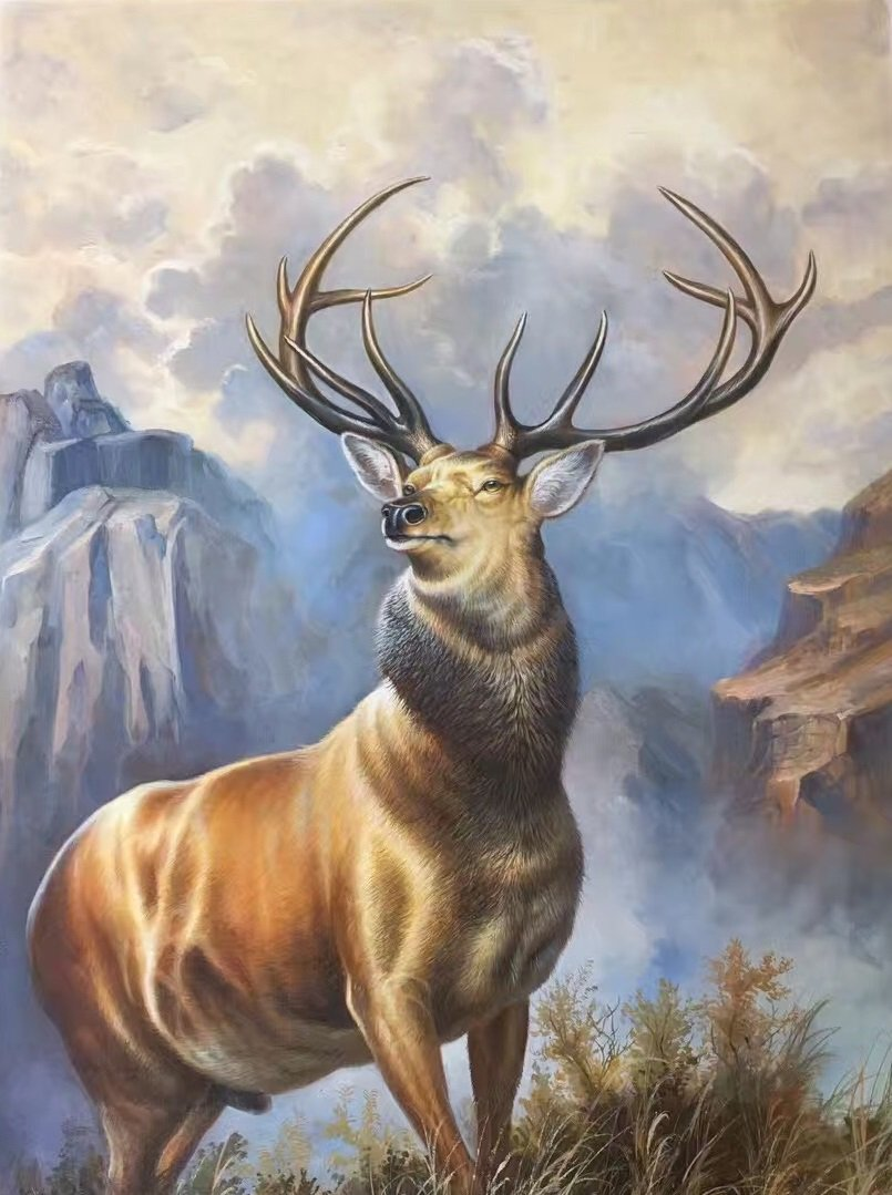 """Hand painted oil painting on canvas""""The King Of Milu Deer""""70x100CM(27.6""""x39.4"""")Unframed-03"""