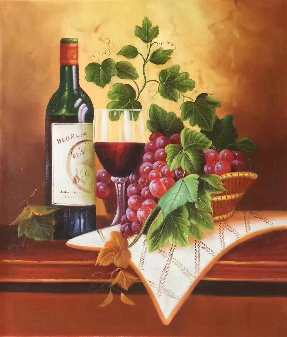 "handpainted oil painting on canvas Art Decor""Grape wine""50x60CM(19.7""x23.6"")Unframed-35"