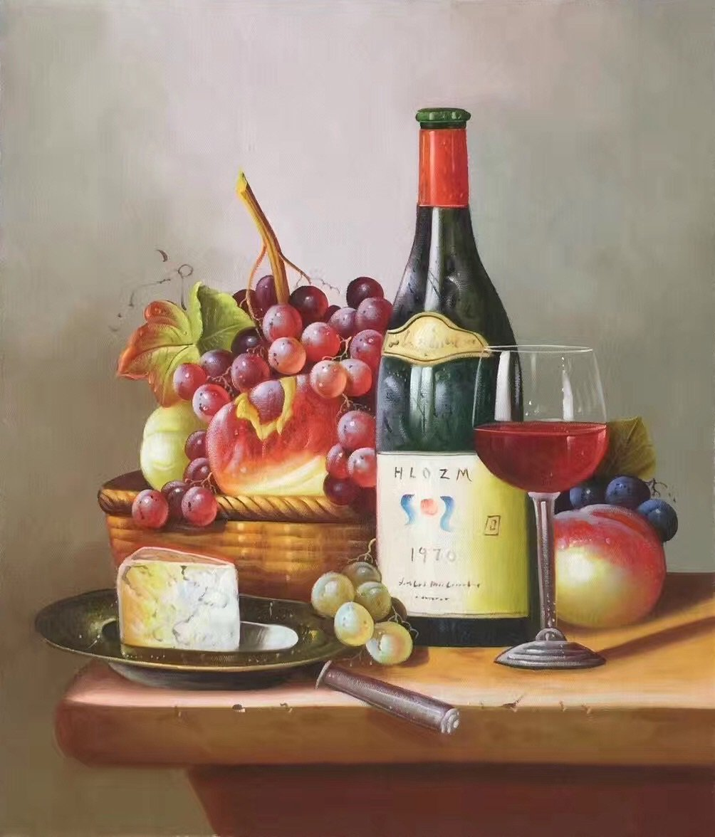 "handpainted oil painting on canvas Art Decor""Grape wine""50x60CM(19.7""x23.6"")Unframed-36"