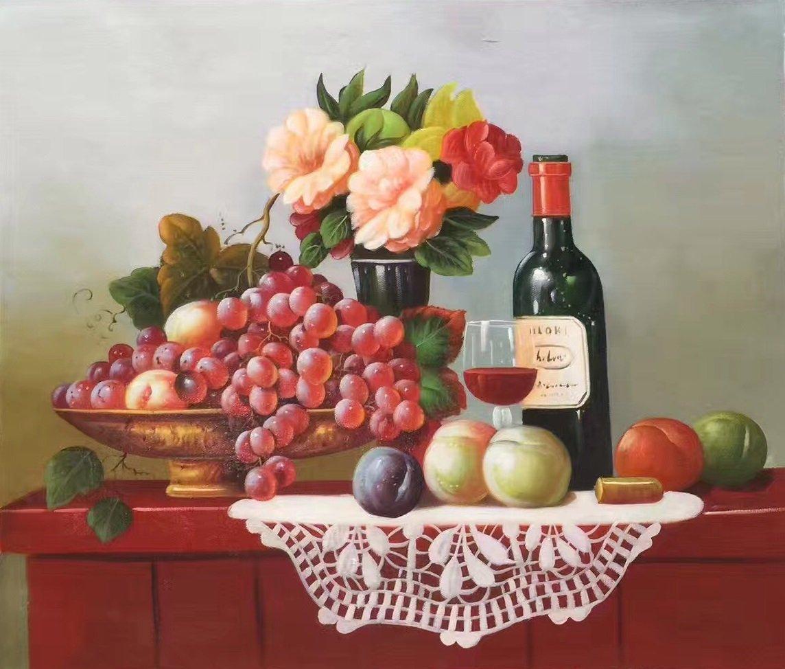 "handpainted oil painting on canvas Art Decor""Grape wine""50x60CM(19.7""x23.6"")Unframed-39"