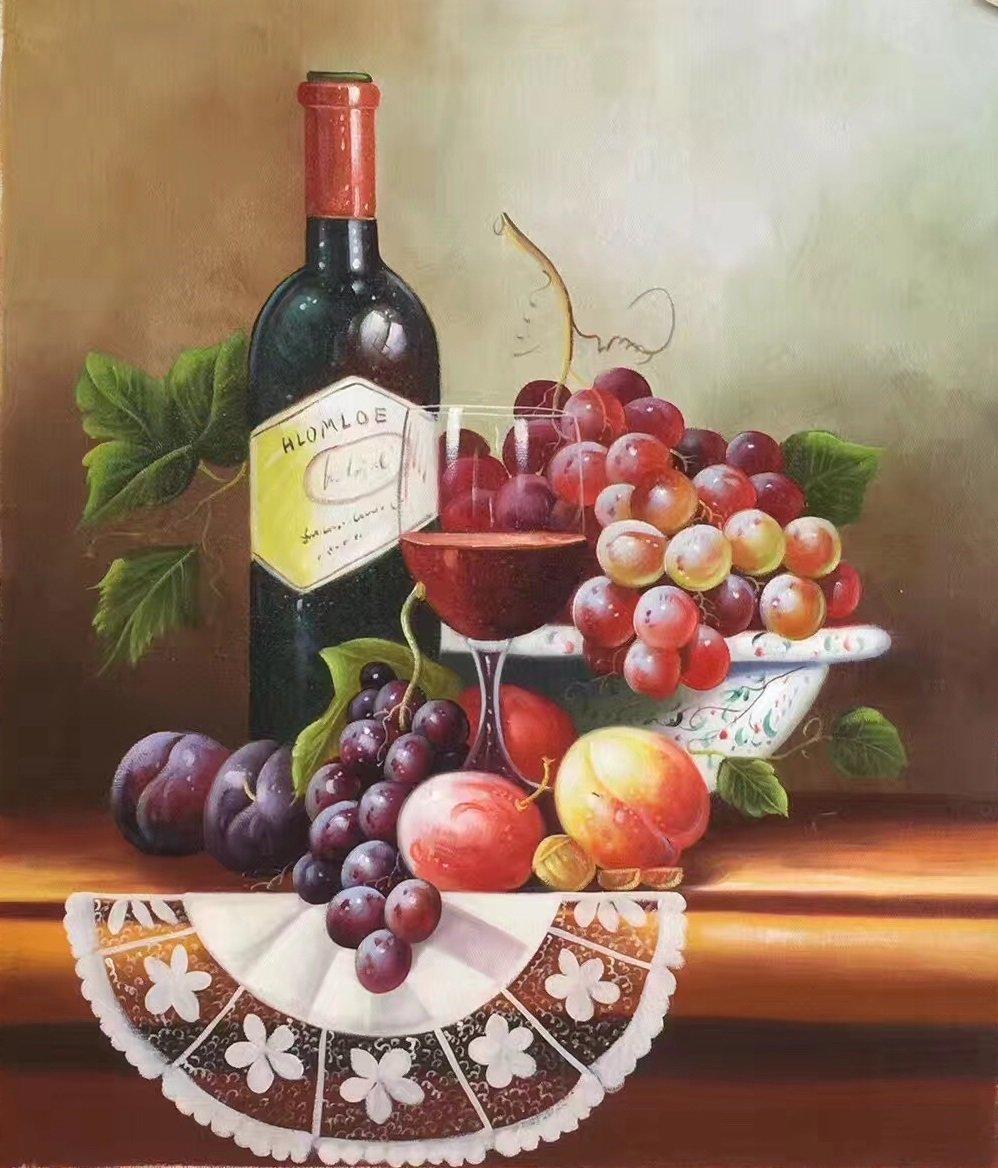 "handpainted oil painting on canvas Art Decor""Grape wine""50x60CM(19.7""x23.6"")Unframed-40"