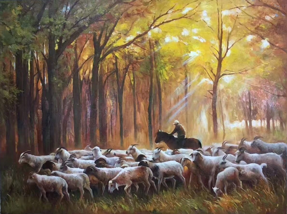 "Simple modern Hand painted oil painting on canvas""Shepherd""75x100CM(29.5""x39.4"")Unframed-01"