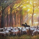 """Simple modern Hand painted oil painting on canvas""""Shepherd""""75x100CM(29.5""""x39.4"""")Unframed-01"""