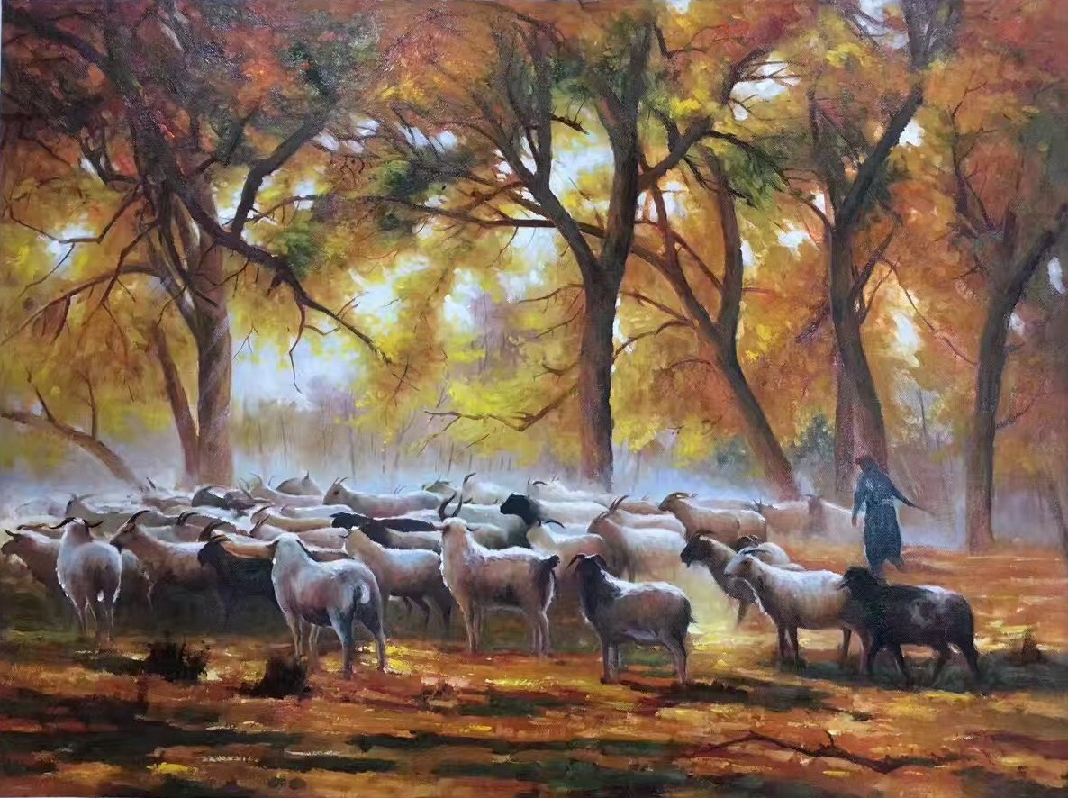"Simple modern Hand painted oil painting on canvas""Shepherd""75x100CM(29.5""x39.4"")Unframed-02"