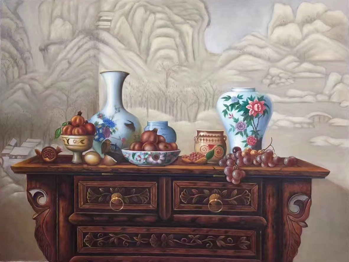 """Chinese style Hand painted oil painting on canvas""""ceramics""""75x100CM(29.5""""x39.4"""")Unframed-07"""