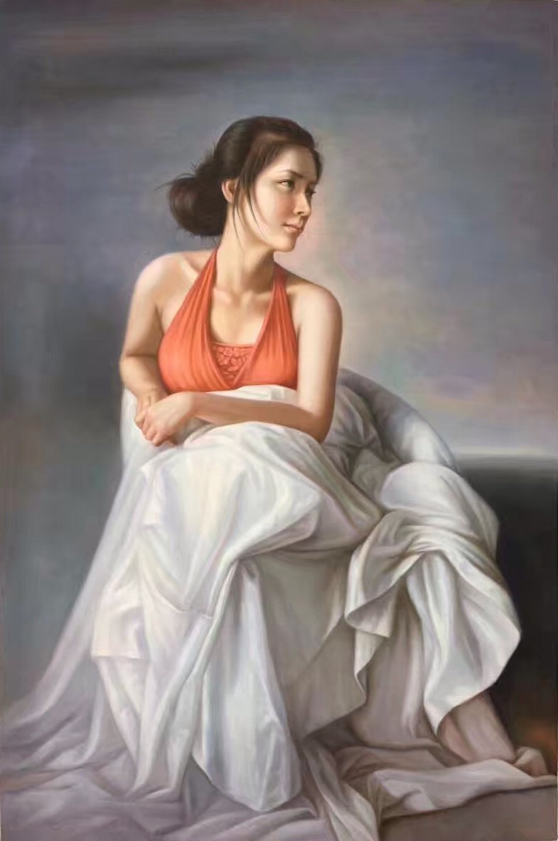 "Simple modern Hand painted oil painting on canvas""Leisurely woman""80x120CM(31.5""x47.2"")Unframed"