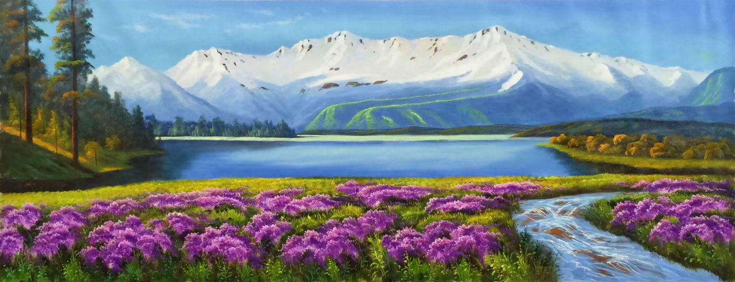"""American style Hand painted oil painting on canvas""""Shangri-La""""70x180CM(27.6""""x70.9"""")Unframed-30"""