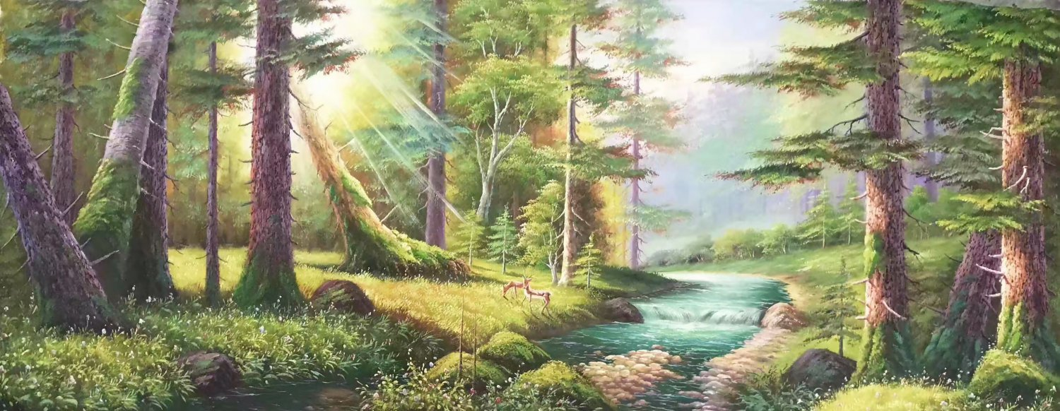 "American style Hand painted oil painting on canvas""forest""70x180CM(27.6""x70.9"")Unframed-14"