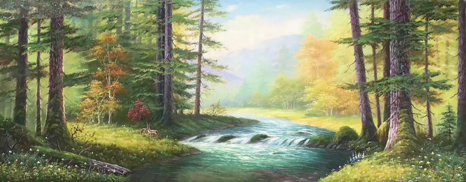 """American style Hand painted oil painting on canvas""""forest""""70x180CM(27.6""""x70.9"""")Unframed-15"""